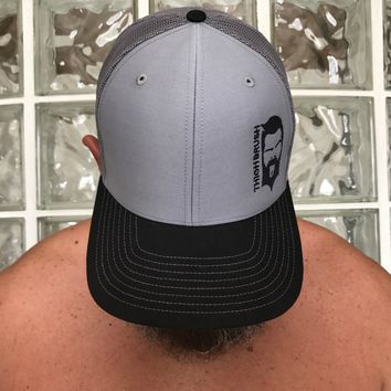 THIGHBRUSH -Trucker Snapback Hat - Black and Grey