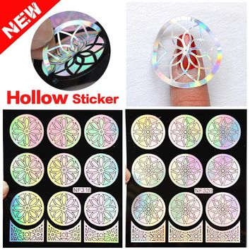 Hot 1Pc Silver Shiny Hollow Vinyls Nail Art Stamping DIY Stamping Plates Stencil For Nail Art Decoration Sticker Guide Nail Tool