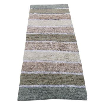 Stripe Design Bath Runner In Cotton, Gray And Beige