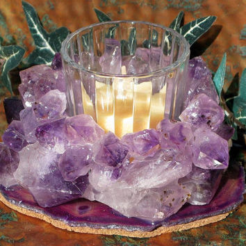 Votive Candleholder with Amethyst Points and Purple Agate, Home Decor, Candlelight, Metaphysical