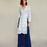 CHECKED TUNIC WITH TIED BELT