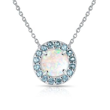 Round Halo Simulated White Opal & Blue Topaz Necklace in Sterling Silver