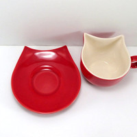 Cat cup, ceramic cat cup and saucer, clay cat cup, cat mugs, pottery cat cup, red cat cup, for cat lovers, cat lovers gift, unique gift