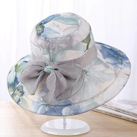 Women Flower Big Bow Foldable Wide Brim Kentucky Derby Hats Bucket Hat Beach Anti-UV Visor Hat