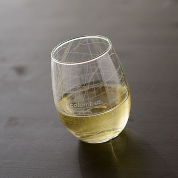 Columbus Map Stemless Wine Glass