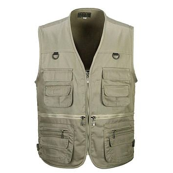 Men Cotton Multi Pocket Vest Summer New Male Casual Thin Sleeveless Jacket With Many Pockets Mens Photographer Baggy Waistcoat
