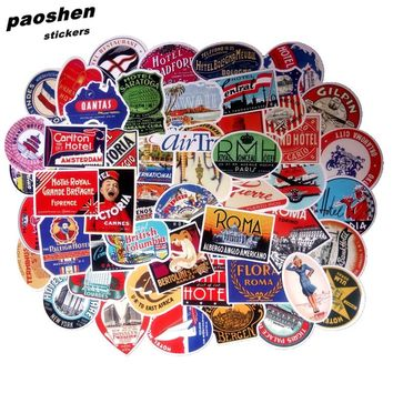 Hot Retro Mixed 55 pcs stickers Home decor on laptop Handbag sticker decal fridge skateboard cut doodle sticker toy stickers