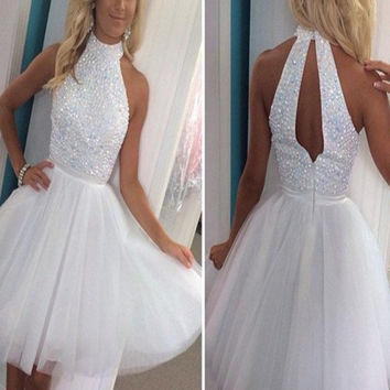 Custom Made A Line High Neck Short White Prom Dress, Short White Homecoming Dress, White Graduation Dress