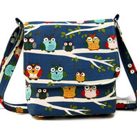 Small Hip Bag Messenger Style - Owls on Branches on Blue Cotton - Long Adjustable Strap