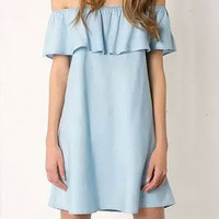 Light Blue Off-Shouler Denim Ruffled Mini Dress