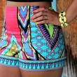 Ethnic Style Print High Waist Shorts