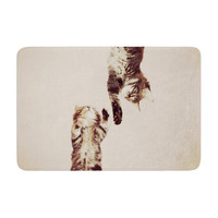 "Monika Strigel ""Upside Down"" Brown Cats Memory Foam Bath Mat"
