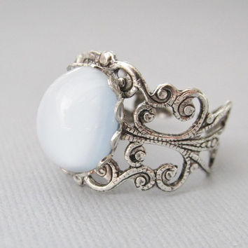 Silver Blue Ring, Blue Adjustable Ring, Ice Blue Cabochon, Antique Silver Ring, Blue Jewelry