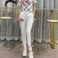 """""""Burberry""""Woman's Leisure  Fashion Letter Printing  Short Sleeve Trousers Two-piece Set Casual Wear"""