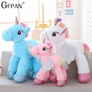 1pc 60cm Colorful Tail Unicorn With Wing plush&stuffed  Unicornios Animal Horse Girls Toys Love Popular Doll For Baby Gifts