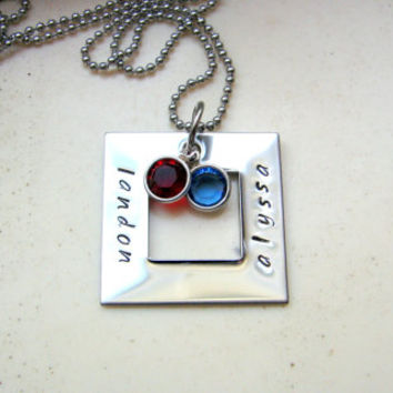 Square Washer Necklace- Personalized Necklace- Birthstone Necklace- Stamped Jewelry- Mommy Jewelry- Family Jewelry- Silver- Four Names