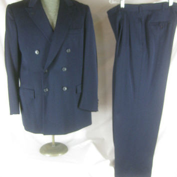 1950s Individually Tailored Double Breasted Vintage Mens 2 Piece Gab Suit