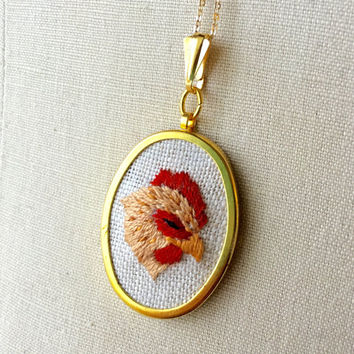 Chicken Necklace Embroidery Bird Jewelry Homestead Barnyard Embroidered Pendant or Brooch