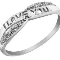 I Love You Diamond Promise Ring in 10K White Gold, Size 7