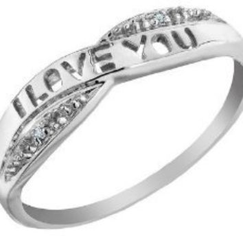 I Love You Diamond Promise Ring in 10K Gold