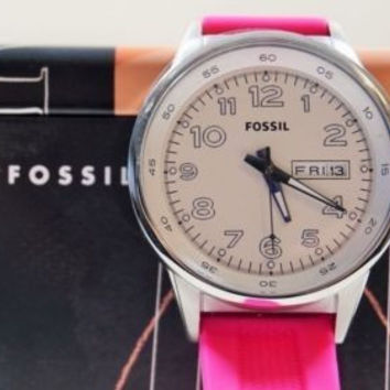 Fossil Women's Silver Stainless Steel Case, White Dial, Silicone Watch BQ1622