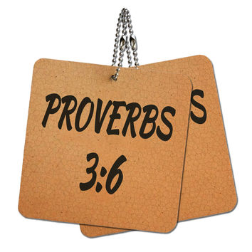 """Bible Verse Proverbs 3-6 Wood MDF 4"""" x 4"""" Mini Signs Gift Tags"""
