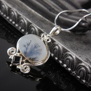 Dendritic Agate & Onyx Sterling Silver Pendant/Necklace