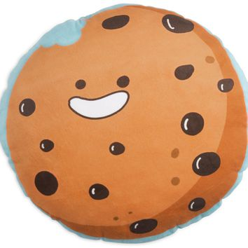 Chocolate Chip Cookie Shaped Throw Pillow