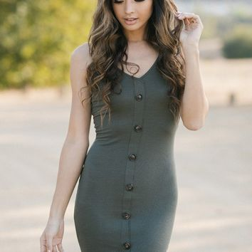 Keira Ribbed Button Dress