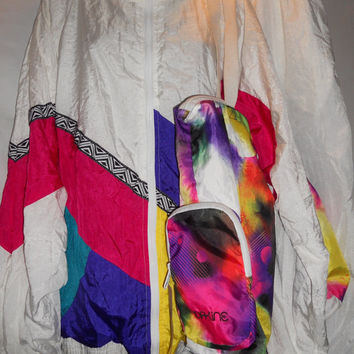 Vintage 80s Neon Bright Colorblock WIndbreaker Suit Set Pants Jacket Pink Purple Yellow Teal Geometric Free Dakine Bag