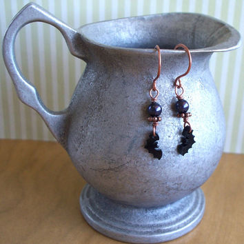 Going  A Little Batty - Black Bat Charm Swarovski Crystal Pearl And Copper Wire Wrapped Earrings