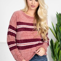 Harvey Striped Chenille Sweater | Mauve