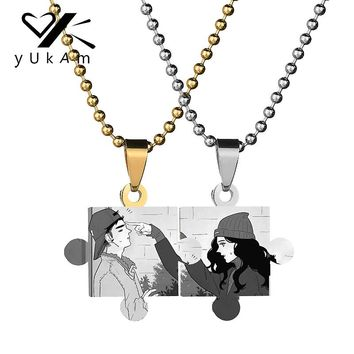 YUKAM Stainless Steel Jigsaw Puzzles Pendants Personalized Custom Name Necklaces Photo Engraved Sweet Love Necklaces for Couples