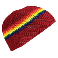 INSPIRIT ARTS SMALL SIZE SKULL CAP BEANIE, Red Rainbow, Handmade Cotton Crochet