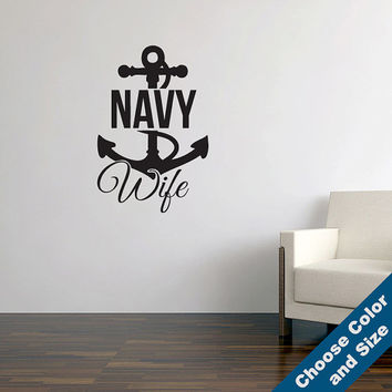 Navy Wife Wall Decal - Military Vinyl Sticker