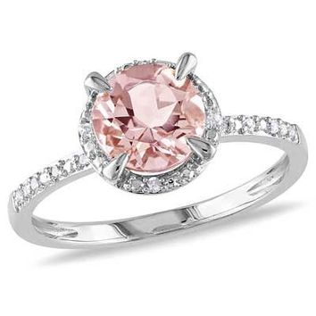 7.0mm Morganite and Diamond Accent Frame Engagement Ring in 10K White Gold - View All Rings - Zales