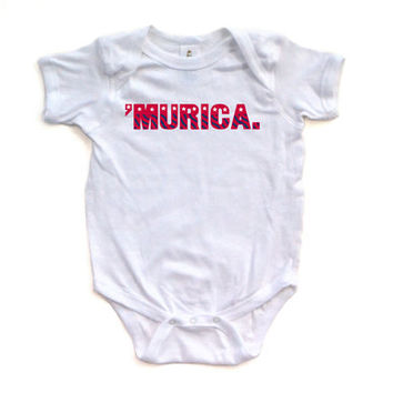 Stars and Stripes USA July 4 Cute Soft Murica Baby Bodysuit