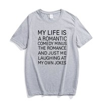 My Life is a Romantic Comedy T-Shirts - Women's Crew Neck Novelty Top Tee