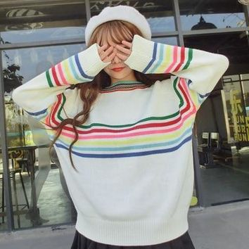 Rainbow Knitted Oversized Pullover Sweater