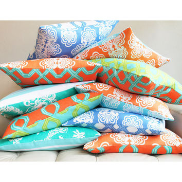 Turquoise Orange Pillow Cover Lilly Pulitzer 12x20 Lumbar Living Room Pillow Nursery Home Decor, Kiwi Sunset Designer Collection