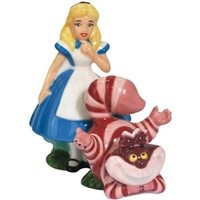 Westland Giftware Alice and Cheshire Cat Magnetic Ceramic Salt and Pepper Shakers, 4-Inch