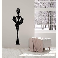 Vinyl Wall Decal African Woman In Turban Native Ethnic Style Stickers (3012ig)