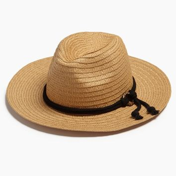 Wide Brim Sun Hat With Rope - Natural
