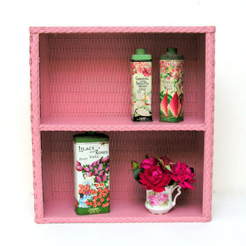 Pink Wicker Shelf Bathroom Baby's Room Nursery Vintage Storage Organization Retro Display