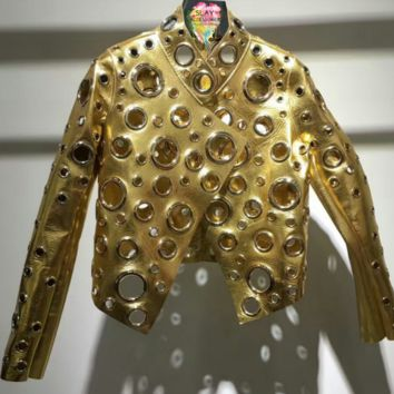 Clyde Gold Leather Eyelet Jacket