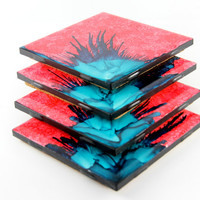 Watermelon and Teal  Art Coasters, Hand Painted Coasters, Custom Coasters, Drink Coaster, Coasters for Drink, Cool Coasters, Unique Coasters