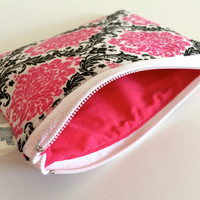 Coin Purse Coin Bag Small Cosmetic Clutch in Pink Damask