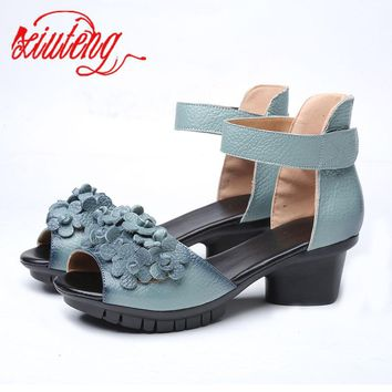 Xiuteng 2017 High quality Genuine leather shoes summer sandals For Woman Med heels shoes fashion Floral Shoes women party Gift