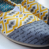 Ready to Ship - Womens Size 8 - Bright Yellow Jonathan Adler Print - Womens Love Bible Verse TOMS