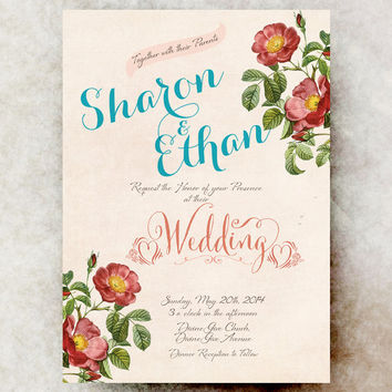 Shabby Chic Wedding Invitation - floral wedding, roses wedding invitation, country wedding invitation, printable invitation